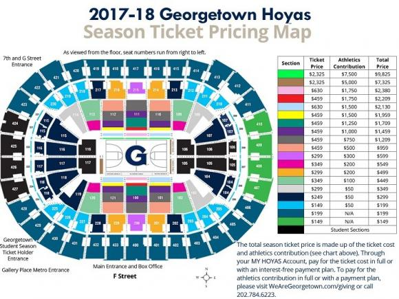 Georgetown Hoyas Basketball Season Tickets (Includes Tickets To All Regular Season Home Games) at Verizon Center