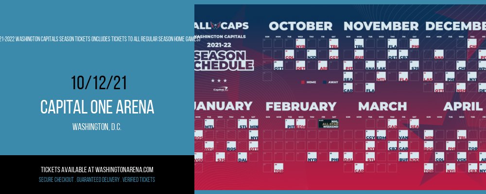 2021-2022 Washington Capitals Season Tickets (Includes Tickets To All Regular Season Home Games) at Capital One Arena