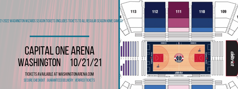 2021-2022 Washington Wizards Season Tickets (Includes Tickets To All Regular Season Home Games) at Capital One Arena